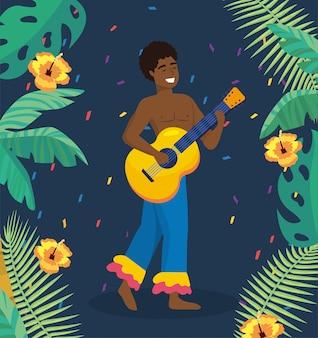 Mężczyzna muzyk z gitarą i gałąź liśćmi