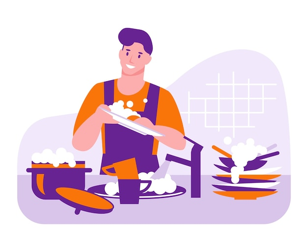 Mężczyzna myje naczynia. koncepcja wektor gospodarstwa domowego. ilustracja w stylu płaskiej kreskówki.