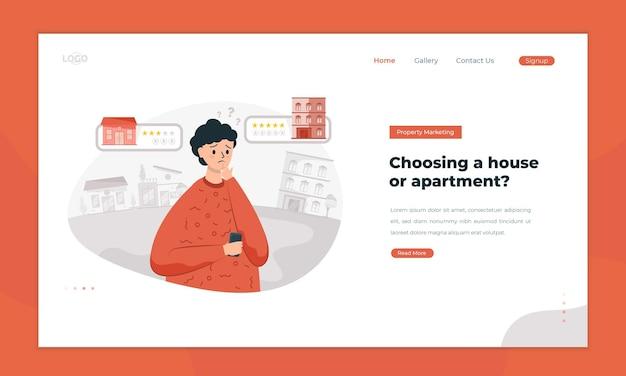 Mężczyzna myśli o wyborze domu lub mieszkania na koncepcji landing page
