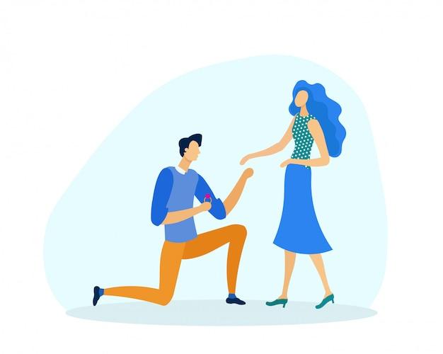 Mężczyzna na kolanach przedstawiający propozycję małżeństwa kobiecie