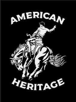 Mężczyzna na koniu w kolorze czarno-białym