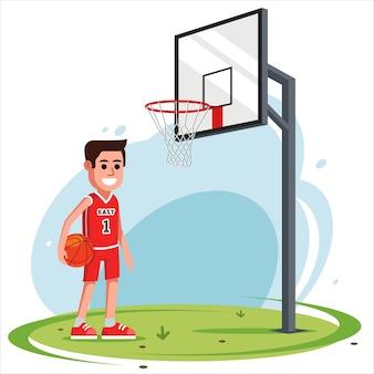 Mężczyzna na podwórku gra w koszykówkę