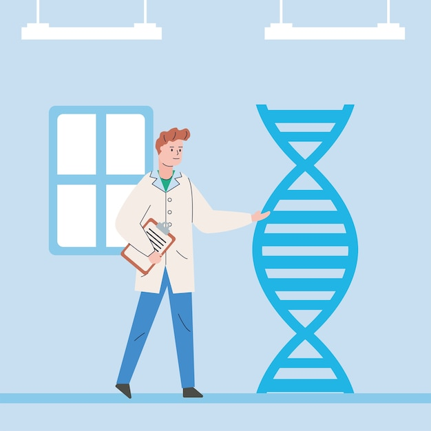 Mężczyzna naukowiec ze szczepionką do badań molekuł dna