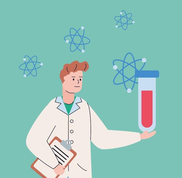 Mężczyzna naukowy z probówką i szczepionką badawczą atomów