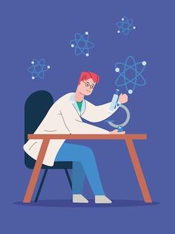 Mężczyzna Naukowy Ze Szczepionką Do Badań Mikroskopowych Premium Wektorów