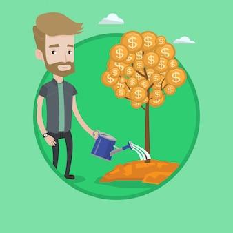 Mężczyzna nawadnia pieniężną drzewną wektorową ilustrację.
