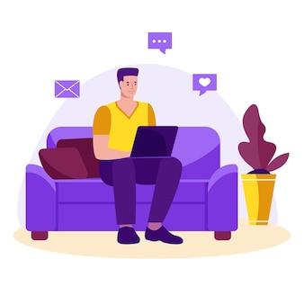 Mężczyzna niezależny z laptopem na kanapie, uczący się lub pracujący w domu