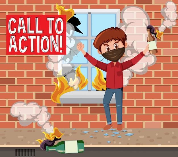 Mężczyzna niszczy miasto bombą butelkową