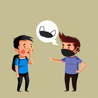Mężczyzna nosić maskę powiedz swojemu przyjacielowi, aby nosił maskę, aby zapobiec covid19