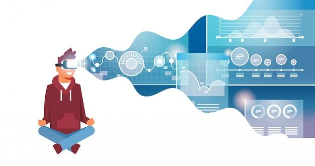 Mężczyzna nosić okulary cyfrowe online handlu wirtualnej rzeczywistości monitorowanie finansowych wykres schemat vr wizja zestaw słuchawkowy innowacja koncepcja płaskie poziome