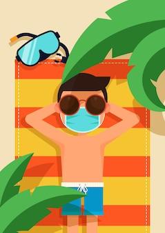 Mężczyzna noszący maskę na twarzy opalający się na ręczniku z liśćmi palmowymi na pierwszym planie ilustracji