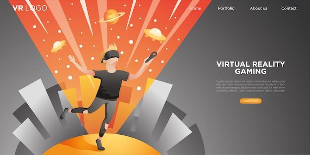 Mężczyzna noszący zestaw vr latający w cyberprzestrzeni