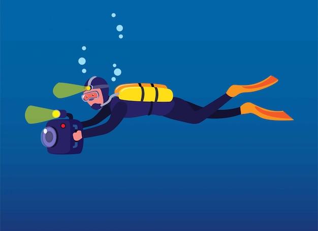 Mężczyzna nurkowanie trzymając aparat, kamerzysta nagrywanie pod wodą w oceanie z lampą błyskową kreskówka w płaskiej ilustracji