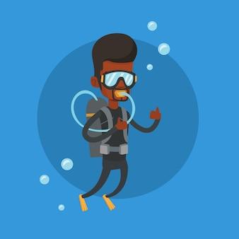 Mężczyzna nurkowanie z akwalungiem i pokazywać kciuk up.