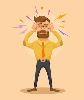 Mężczyzna o płaskiej ilustracji bólu głowy