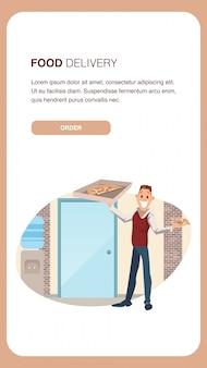 Mężczyzna office worker hold box z dostawy pizzy. szablon transparentu