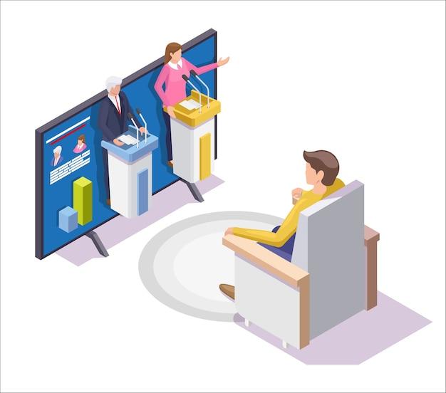 Mężczyzna ogląda program telewizyjny z debatą na temat kandydatów na prezydenta.