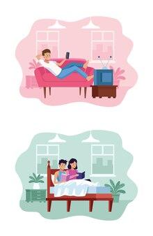 Mężczyzna ogląda tv i dobiera się w łóżku