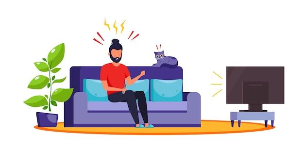Mężczyzna ogląda wiadomości w telewizji. szokujące treści, fałszywe wiadomości. emocja szoku, zaskoczenia. ilustracja w stylu płaski.
