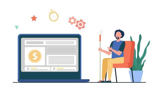 Mężczyzna oglądając kurs waluty na monitorze komputera. nagroda pieniężna, płaska ilustracja sprzedaży sklepu internetowego