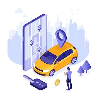 Mężczyzna online wybiera samochód do współdzielenia samochodów