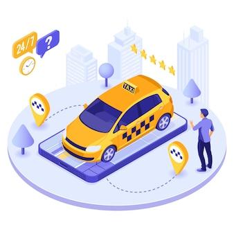 Mężczyzna online zamówić taksówkę z izometrycznego wektora smartfona
