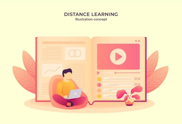 Mężczyzna operacyjny laptop czyta e-booka oglądając samouczek wideo. kształcenie na odległość koncepcja nowoczesnego stylu cartoon płaski
