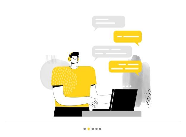 Mężczyzna operator z centrum obsługi telefonicznej komunikuje się na laptopie na czacie z użytkownikiem