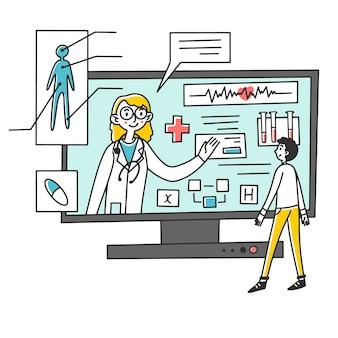 Mężczyzna otrzymujący konsultację medyczną online