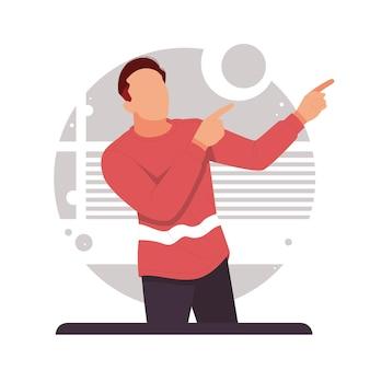 Mężczyzna palcem wskazującym w prawo reklamuje produkt w płaskiej konstrukcji