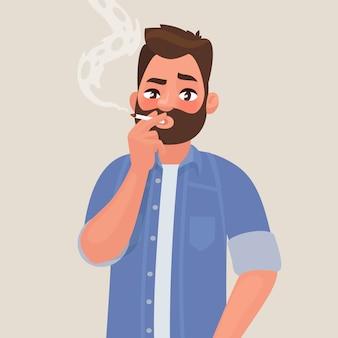 Mężczyzna pali papierosa. uzależnienie od tytoniu. pojęcie niezdrowego stylu życia