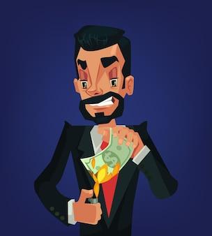 Mężczyzna pali pieniądze. bogaty biznesmen. pieniądze w ogniu. milioner.