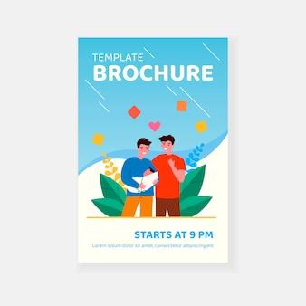 Mężczyzna para gejów adoptując szablon broszury dla dzieci