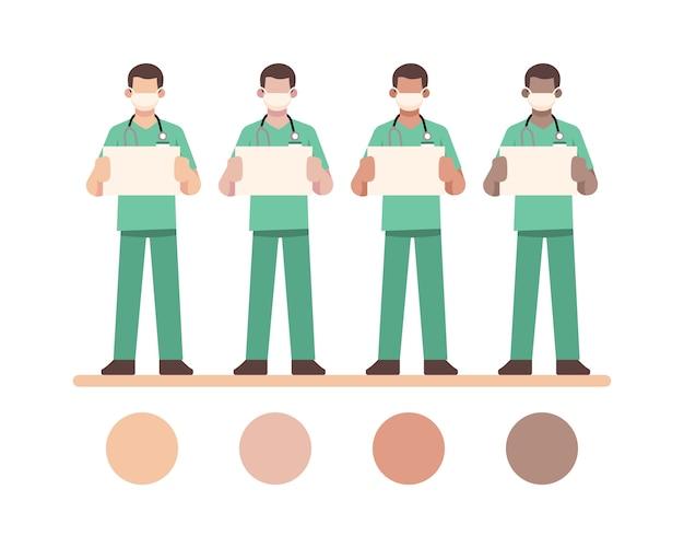 Mężczyzna pielęgniarka charakter nosić maskę i trzymając pustą białą tablicę