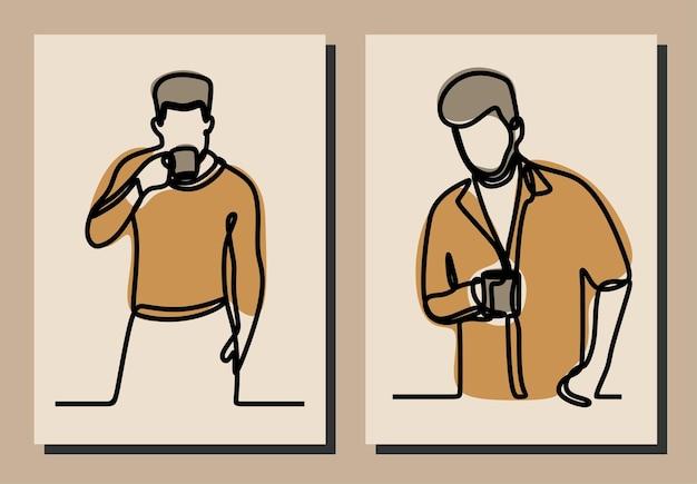 Mężczyzna pijący zestaw do kawy w linii ciągłej online