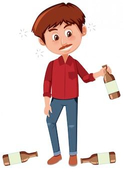 Mężczyzna pije alkohol na białym tle
