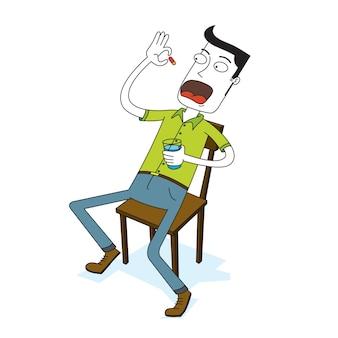 Mężczyzna pije kapsułkę dla zdrowia