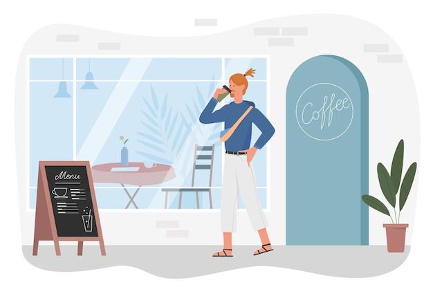 Mężczyzna pije kawę na wynos płaski wektor ilustracja. postać z kreskówki młody mężczyzna hipster stojący obok kawiarni, kawiarni lub kawiarni, facet trzyma kubek gorącego napoju na białym tle
