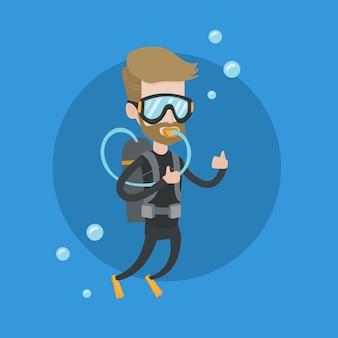 Mężczyzna pikowanie z akwalungiem i pokazywać ok znaka.