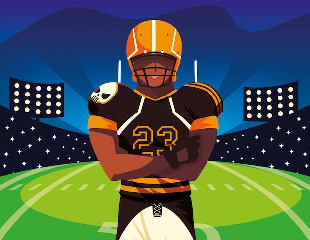 Mężczyzna piłkarz rugby, sportowiec z mundurem