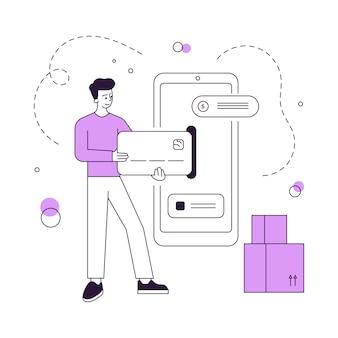 Mężczyzna płaci za dostawę online za pośrednictwem smartfona