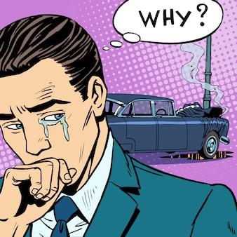 Mężczyzna płacze wypadek samochodowy