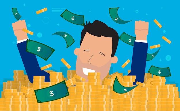 Mężczyzna pływa w pieniądzach i kąpie się w dolarach