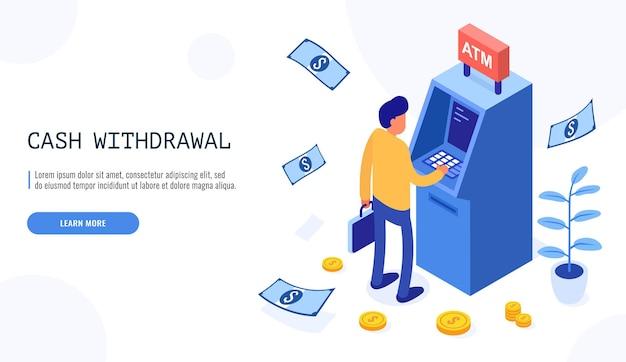 Mężczyzna pobiera pieniądze z bankomatu w stylu izometrycznym