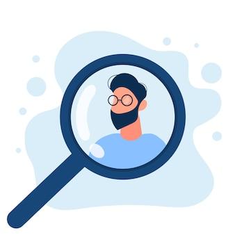 Mężczyzna pod lupą. koncepcja wyszukiwania osób, otwarte oferty pracy i hr. wektor.
