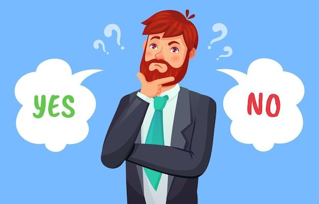Mężczyzna podejmuje decyzję, wybór tak lub nie. mężczyzna ma dylemat. facet w formalnym garniturze, pracownik biurowy lub biznesmen podejmujący decyzję, dymki z ilustracji wektorowych pro i con
