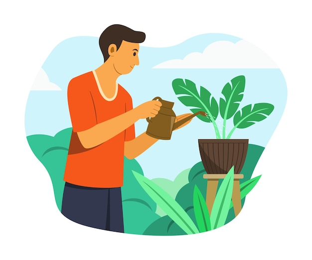 Mężczyzna podlewający rośliny w ogrodzie