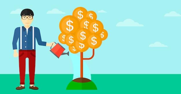 Mężczyzna podlewania drzewo pieniądze.