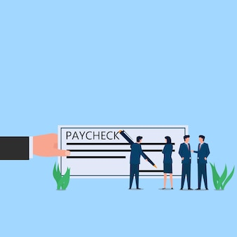 Mężczyzna podpisuje metaforę płatności na papierze wypłaty. biznes ilustracja koncepcja płaski.
