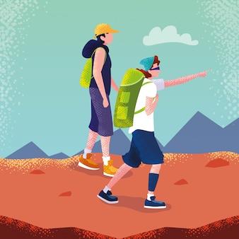 Mężczyzna podróżnik w postaci awatara krajobrazowego